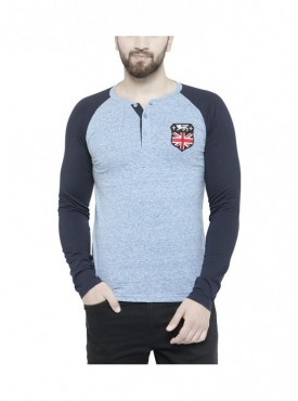 Teesort Men's Henley Blue Solid T-shirt