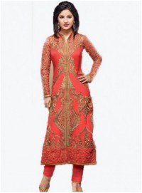 Indian Pakistan Style heena khan Red same steatiched salwar suit-FC-5121