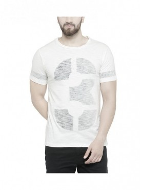 TSX Men's Round Neck White Printed T-shirt