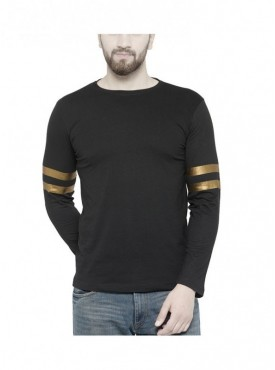 TSX Men's Round Neck Black Solid T-shirt