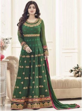 Indian Woman Wedding  Style Simar-10 Green Faux Georgett Embroidered Sami-stitched straight Anarkali Style Churidar salwar Suit