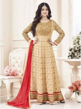 Indian Woman Wedding  Style Simar-10  Cream Faux Georgett Embroidered Sami-stitched straight Anarkali Style Churidar salwar Suit
