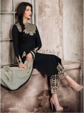 Georgette Black Embroidered Nairra Unstitched Pant Style Suit - FC-5175