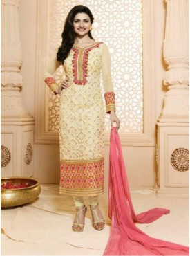 Indian PAKISTANI Woman Style Prachi-29-4833 Cream Colour Georgette With Embroidery Chifli Work Sami-stitched straight salwar Sui