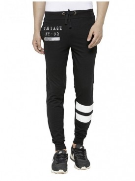 Tsx Men'S Cotton Trackpant With Pu Leather Patch