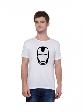 American-Elm Men Half Sleeves Iron Man Face Printed T-Shirt