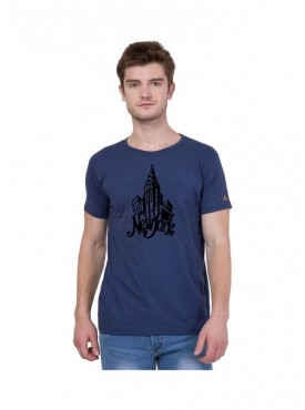American-Elm Half Sleeves New York Building Printed T-Shirt for Men