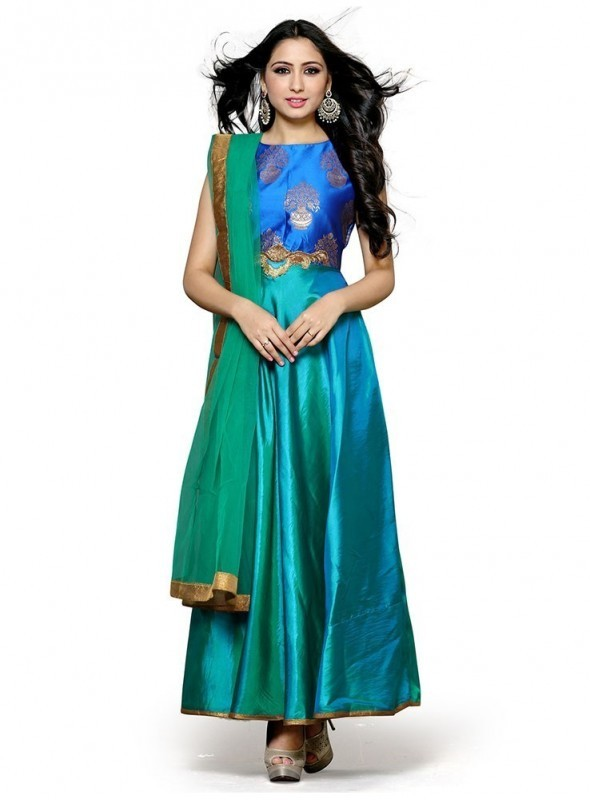 Aasvaa Top Fabric Paper Silk Bottom, Santoon Dupatta Net Blue Color Salwar Suit