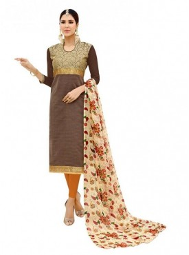 Aasvaa Top Fabric Banarasi Cotton Bottom, Cotton Dupatta Nazneen Light Brown Color Salwar Suit