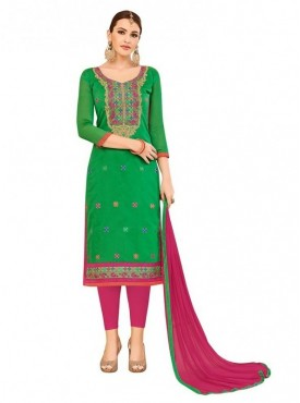 Aasvaa Top Fabric Cotton Bottom, Cotton Dupatta Nazneen Green Color Salwar Suit