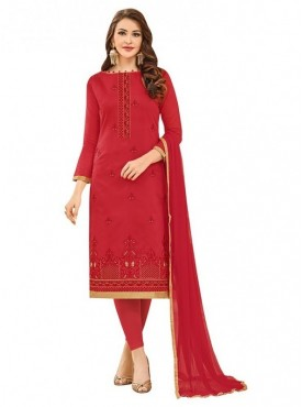 Aasvaa Top Fabric Cotton Bottom, Cotton Dupatta Nazneen Red Color Salwar Suit