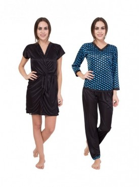 American-Elm Women Stylish Black & Blue Nighty Pack Of 2