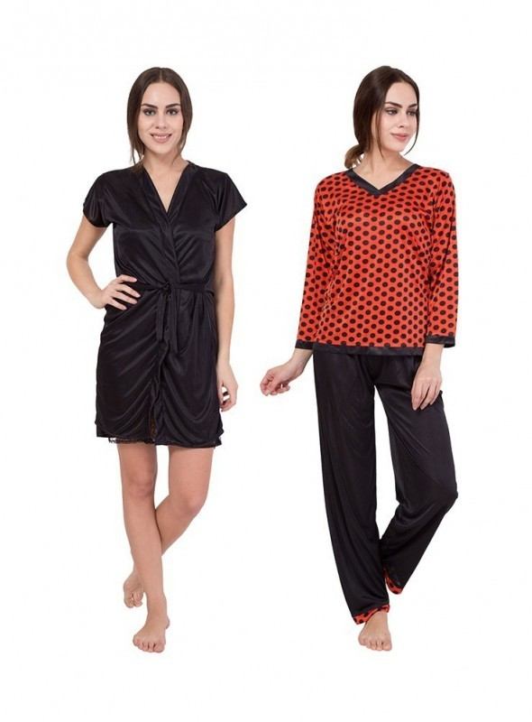 American-Elm Women Self Design Black& Red Nighty Pack Of 2
