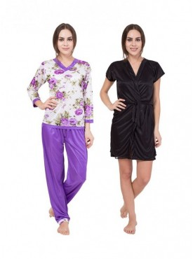American-Elm Women White Printed & Black Solid Nighty Pack Of Women