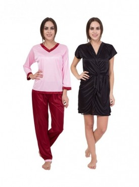 American-Elm Women Light Pink Full Sleeve & Black Half Sleeve Nighty Pack Of 2