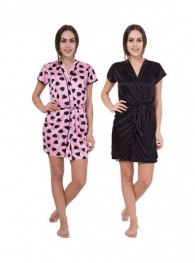 American-Elm Women Dot Printed Pink & Black Solid Nighty Pack Of 2