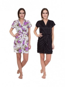 American-Elm Women White Floral Print & Black Solid Satin Nighty Pack Of 2