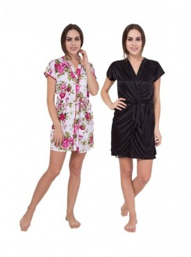 American-Elm Women MultiColour Printed & Solid Nighty Pack Of 2