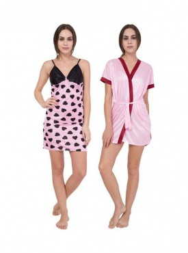 American-Elm Women Self Design Light Pink Printed & Pink Half Sleeve Nighty Pack Of 2
