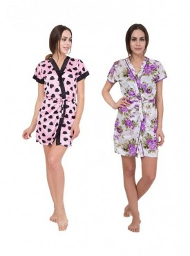 American-Elm Women Black Heart Printed & Floral Printed Nighty Pack Of 2
