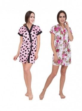 American-Elm Women Black Heart Printed & Floral Printed Self Design Nighty Pack Of 2