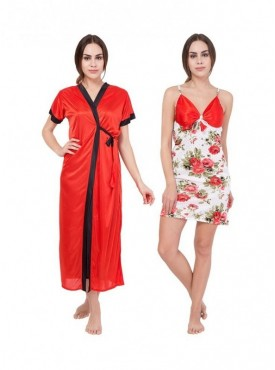 American-Elm Women Solid Red & White Floral Print Self Design Nighty Pack Of 2