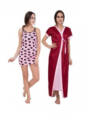 American-Elm Women Pink Sleeveless & Maroon Half Sleeve Solid Nighty Pack Of 2