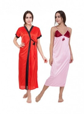 American-Elm Women Multicolour Regular Fit Half Sleeve Satin Nighty Pack Of 2