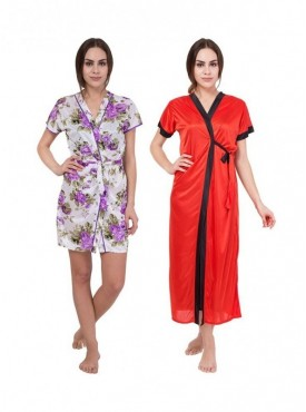 American-Elm Women White Floral Print & Red Solid Regular Fit Nighty Pack Of 2