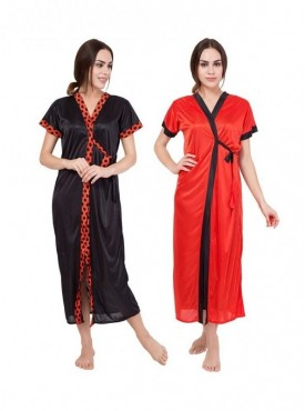 American-Elm Women Black & Red Half Sleeve Full Length Free Size(S-XXL) Nighty Pack Of 2