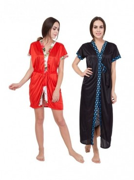 American-Elm Women Stylish Red Solid Half Sleeve & Black  Solid Half Sleeve Nighty Pack Of 2
