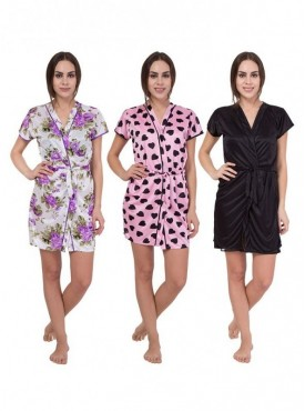 American-Elm Women White,Pink,Black Regular Fit Nighty Pack Of 3
