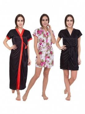 American-Elm Women Black,White,Black Self Design Satin Nighty Pack Of 3