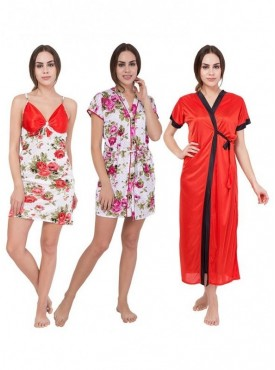 American-Elm Women Off White,White,Red Floral Printed Half Sleeve Nighty Pack Of 3