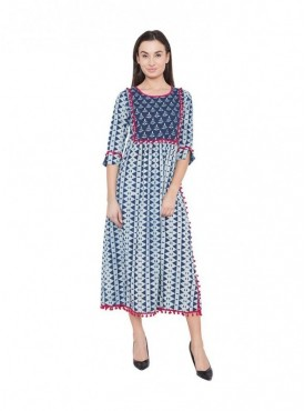 American-Elm Women 3/4 Th Sleeve Regular Fit Cotton Kurti