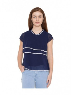 American-Elm Women Navy Self Design Half Sleeve Cotton Top