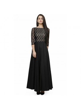 Oro Lifestyle Designer Black and White Gown (Long Dress)