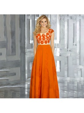 Oro Lifestyle Exclusive Designer Orange Gown