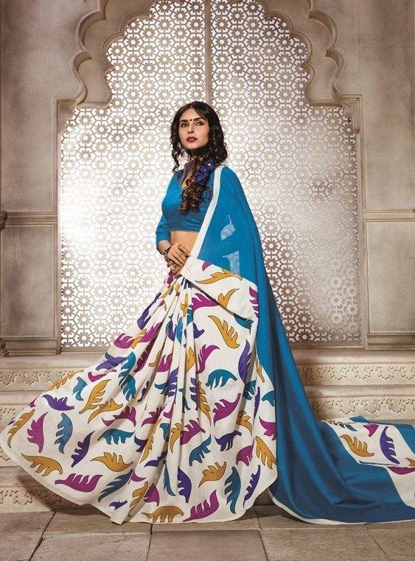 Sareemall Bhagalpuri Silk Women Sky Blue Saree