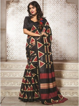 Sareemall Bhagalpuri Silk Women Black Saree