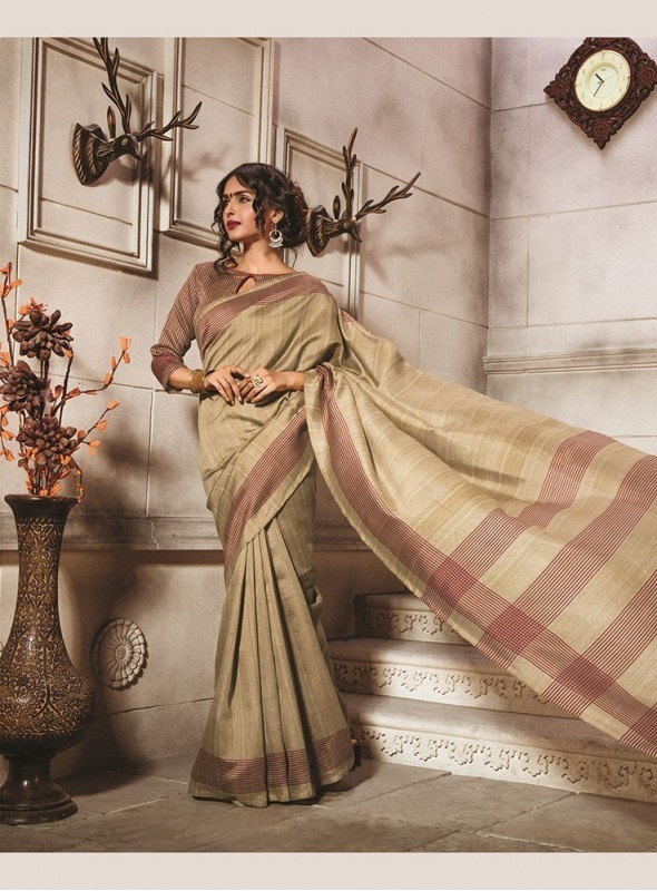 Sareemall Bhagalpuri Silk Women Light Brown Saree