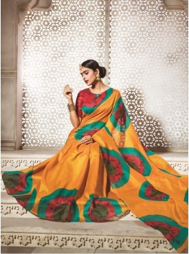 Sareemall Bhagalpuri Silk Women Orange Saree