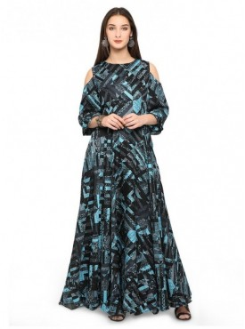 Pure 9 Women Black and Sky blue Color Poly Jute Designer & Trendy Kurti