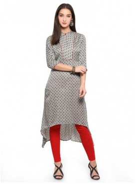 Pure 9 Women Grey Color Satin Designer & Trendy Kurti