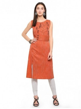 Pure 9 Women Orange Color Cotton Designer & Trendy Kurti