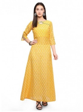 Pure 9 Women Yellow Color Chanderi slub Designer & Trendy Kurti