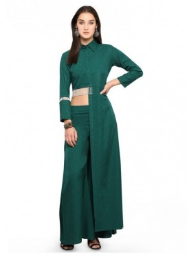 Pure 9 Women Green Color Poly viscose blend Designer & Trendy Kurti