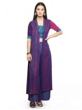 Pure 9 Women Purple Color Silk Designer & Trendy Kurti