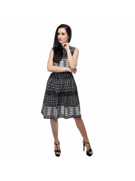 SGF Women Poly Crepe Black & White Color Dress