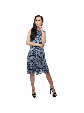 SGF Women Rayon Black & Blue Color Dress